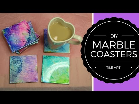 how-to-make-colourful-marble-effect-or-watercolour-coasters-//-diy