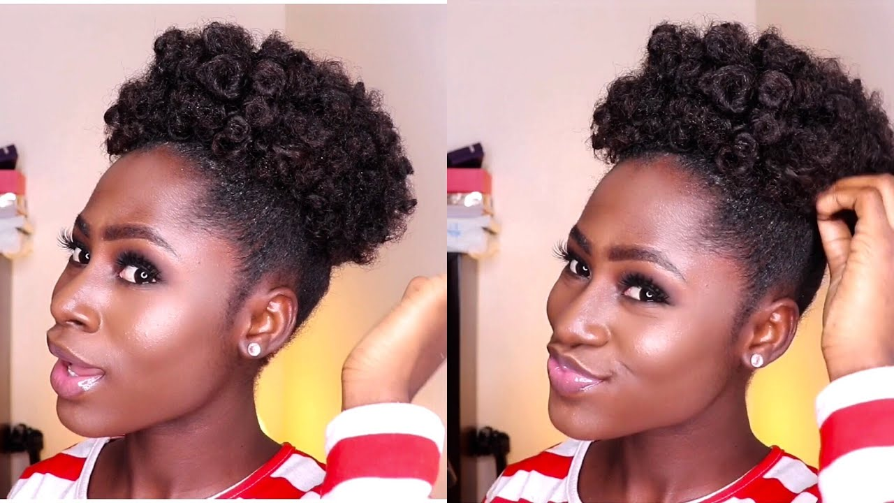 Bantu Knot Out High Puff On Short Natural Hair By Eno Kay