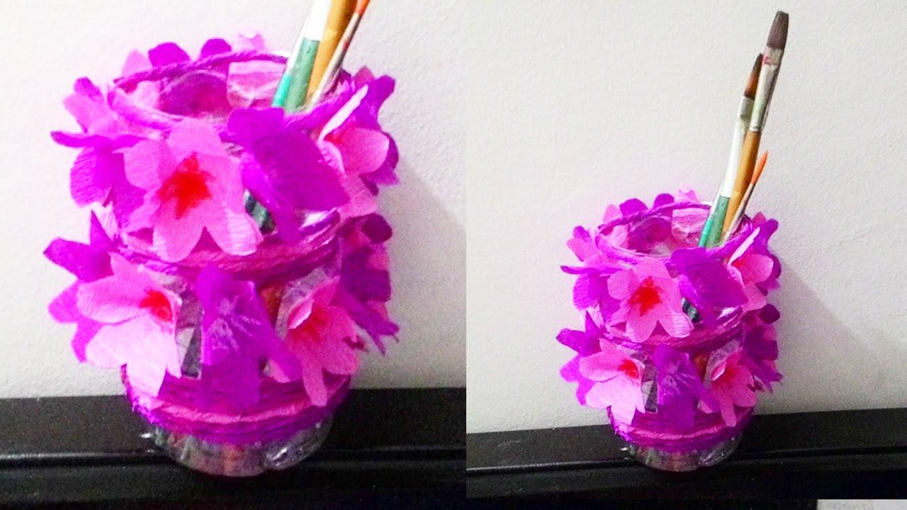 How to make waste bottle flower vase || DIY waste bottle pen ... for Diy Plastic Bottle Pen Holder  150ifm
