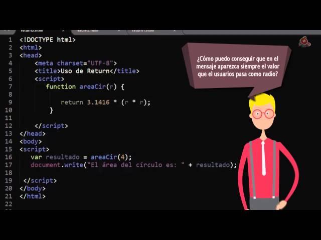 15.- Curso de JavaScript para principiantes. Uso de return. Hacer que la función devuelva un valor.