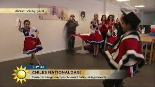 Maria Forsblom dansar in Chiles nationaldag  - Nyhetsmorgon (TV4)
