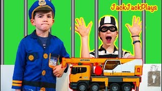 Pretend Play Police - Locked Up Robber Ruth Escapes the JackJackPlays Jail