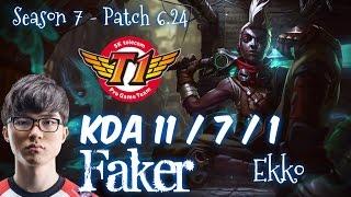 SKT T1 Faker EKKO vs AKALI Mid - Patch 6.24 EUW Ranked