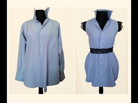 Делаю платье из мужской рубашки. Переделка одежды. DIY.