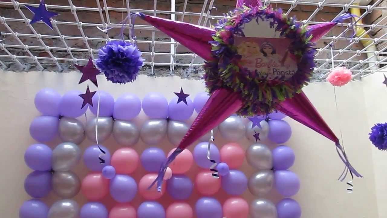 DECORACION FIESTA TEMATICA BARBIE POP STAR CON GLOBOS - YouTube
