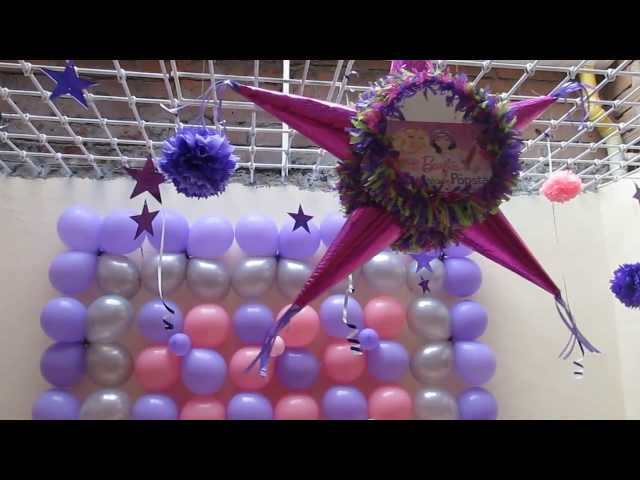 DECORACION FIESTA TEMATICA BARBIE POP STAR CON GLOBOS Videos De Viajes