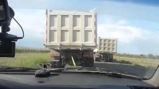 Опасный обгон с прицепом. Трасса Актобе. Казахстан. Overtaking a trailer .EXTREME.