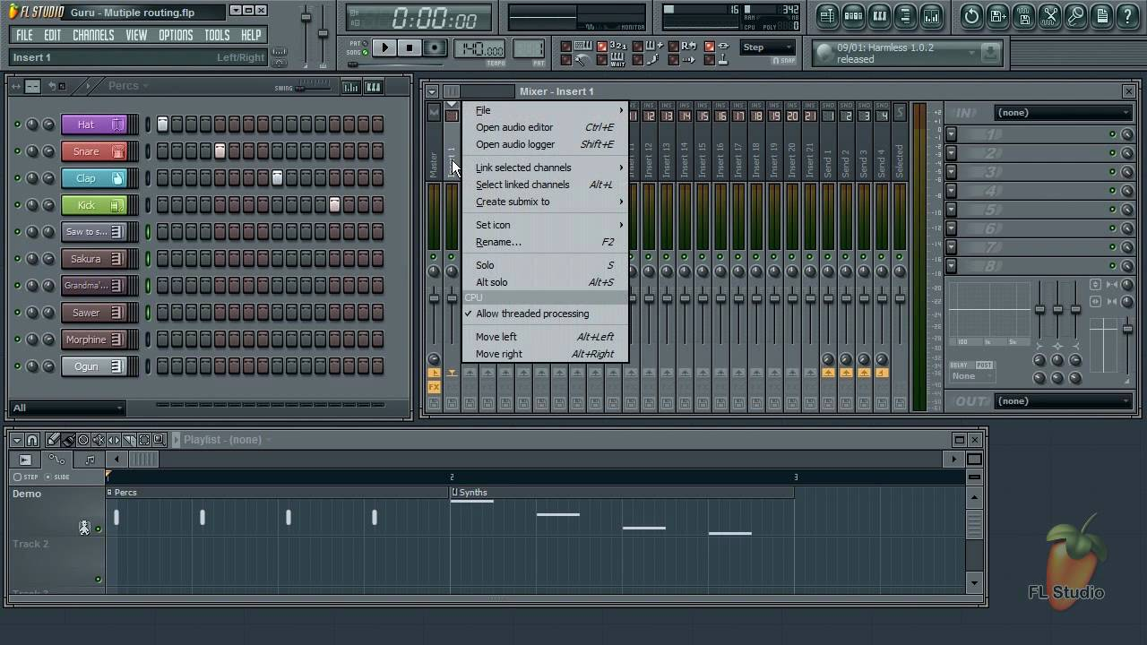 Fl Studio Guru Routing Multiple Instrument Channels To The Mixer Modular Audio With Input Youtube