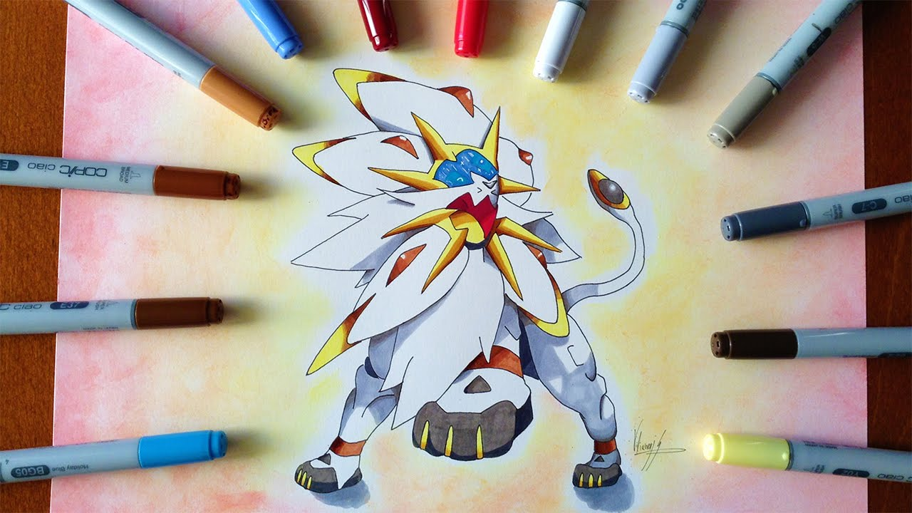 disegno drawing solgaleo pokemon sole e luna youtube