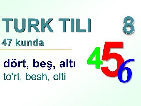 турк тили 47 кун ичида 8 кун. Turk Tili Raqamlari - 1dan 12 Gacha Sanash.