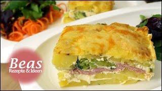 Kartoffelgratin Auflauf - Rezept mit Käse Schinken und Brokkoli