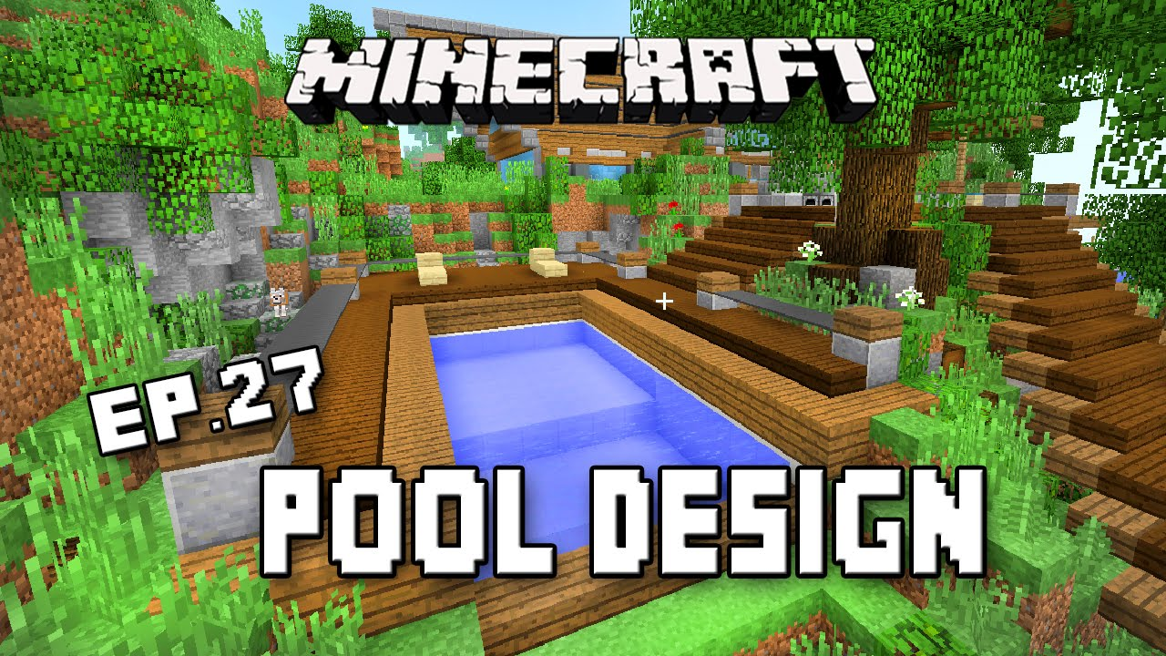 Minecraft Tutorial How To Make A Modern Swimming Pool Design Scarland Cabin Part 27 Youtube