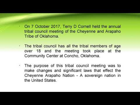 Terry D Cornell Participated in Annual Tribal Council Meeting of Cheyenne Arapaho Tribe of Oklahoma