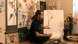 "Уроки по цветам в технике живописи у-син.  Тюльпан"""