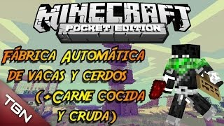 Fábrica Automática de Vacas y Cerdos (+Carne) | Alternativa RedStone #14 | Minecraft Pocket Edition