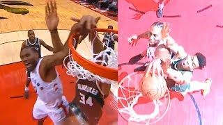 Kawhi Leonard dunk over Giannis Antetokounmpo | Bucks vs Raptors Game 4
