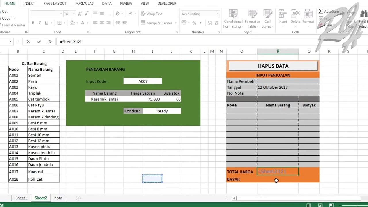 Tutorial Excel Membuat Nota Penjualan Otomatis Belajar Rumus Excel