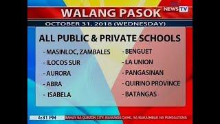 BP: Mga lugar na walang pasok ngayong araw (Oct. 30, 2018)