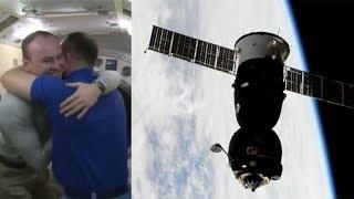 Soyuz MS-05 hatch closure, undocking & departure