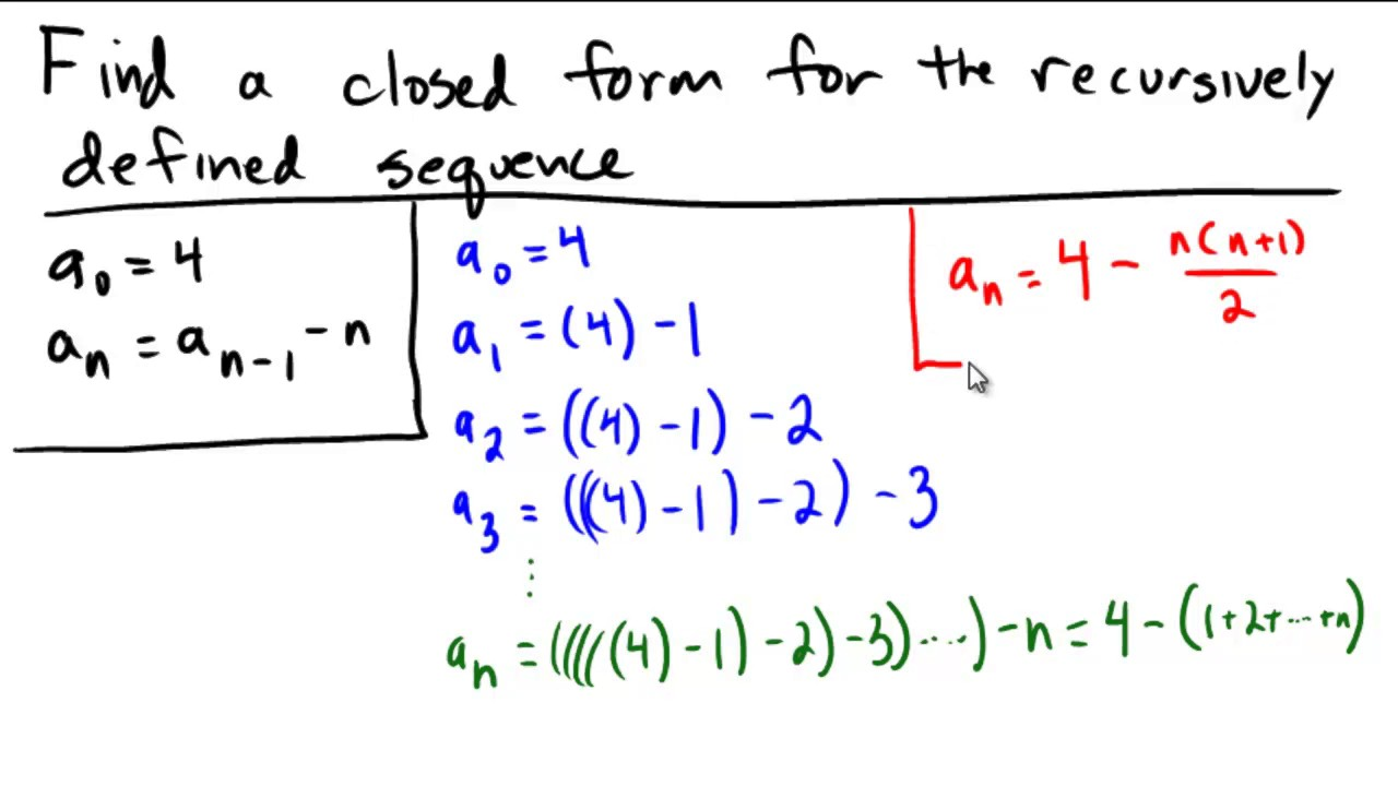 Closed form from a recursive definition