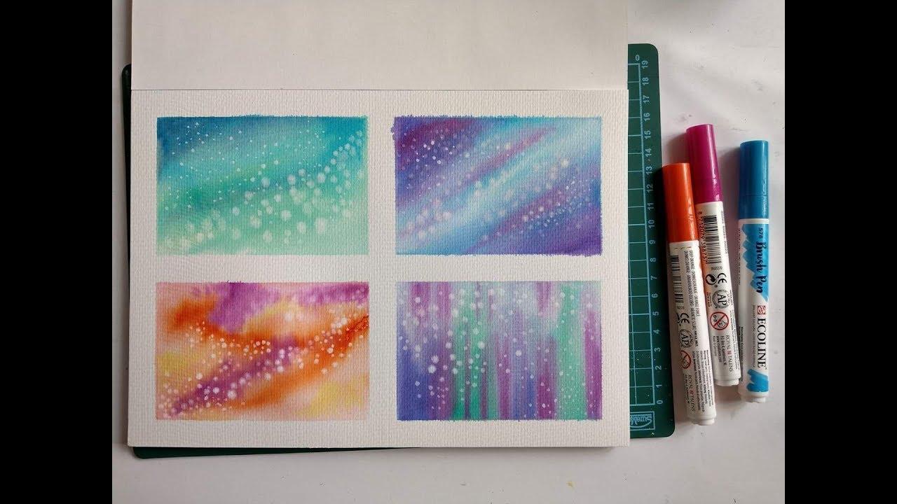 Watercolor painting | Hướng dẫn vẽ dải ngân hà thật dễ bằng bút màu nước Ecoline