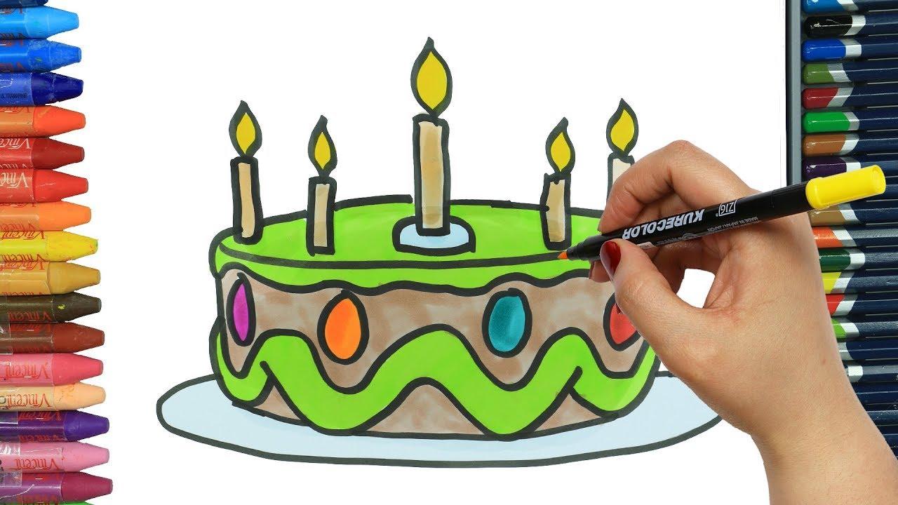 Torta Compleanno Stilizzata.Come Disegnare E Colorare Torta Di Compleanno Disegno Colorare Come Colorare Per Bambini Youtube