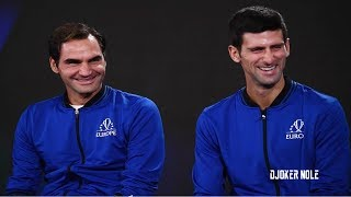 Federer & Djokovic Laugh FUNNY MOMENT - Laver Cup 2018 (HD)