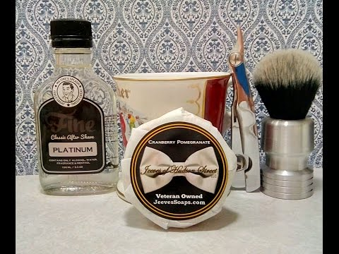 Irving Barber Company Chrome shavette, Jeeves of Hudson Street Cranberry Pomergranate with Fine Plat