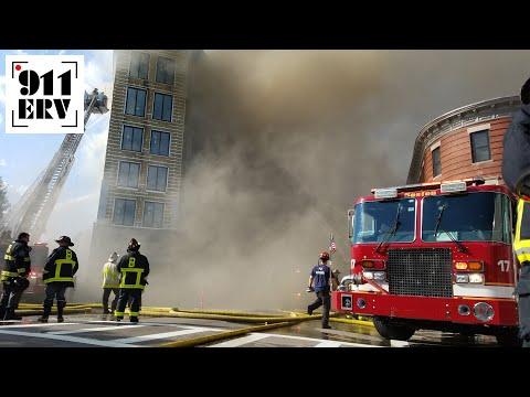 Boston Fire Department Battling Stubborn & Smoky 6+ Alarm Fire in Dorchester