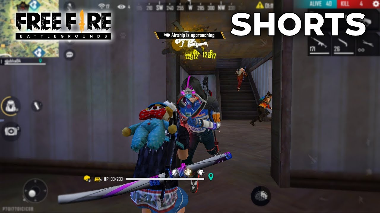 Solo Vs Squad Double Door Best Fight Moment - Garena Free Fire #Shorts #Short