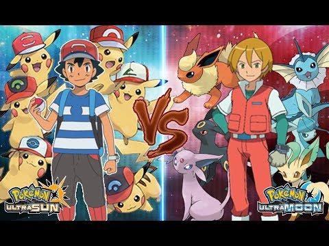 Pokemon Ultra Sun and Ultra Moon Ash Vs Virgil (All Pikachu Vs All Eevee Evolutions)