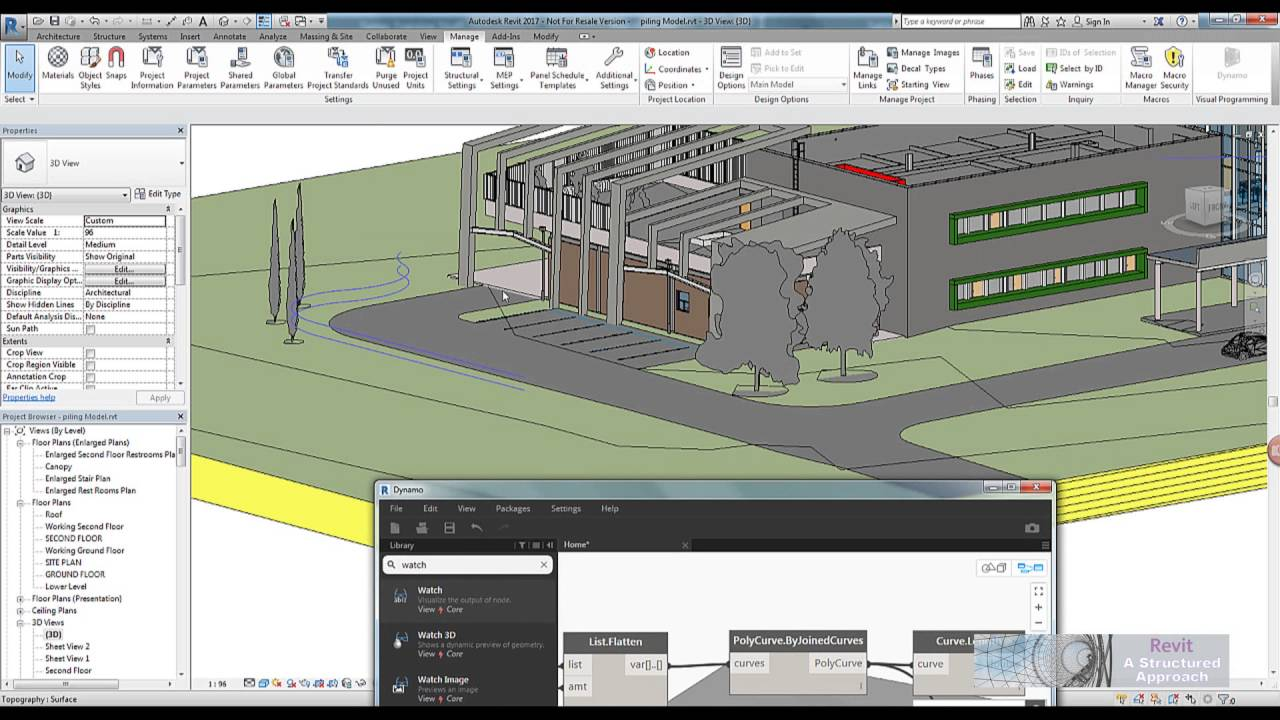 Revit 2017 And Dynamo Tutorial Creating Piled Wall Systems