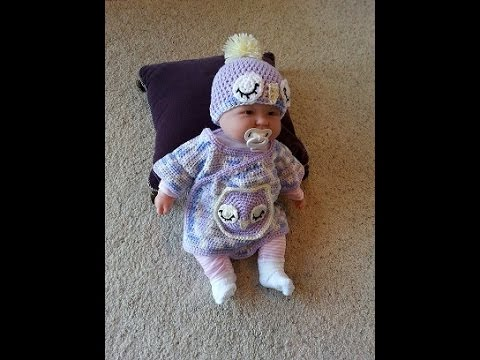 Crochet easy sleepy owl baby hat DIY tutorial - YouTube