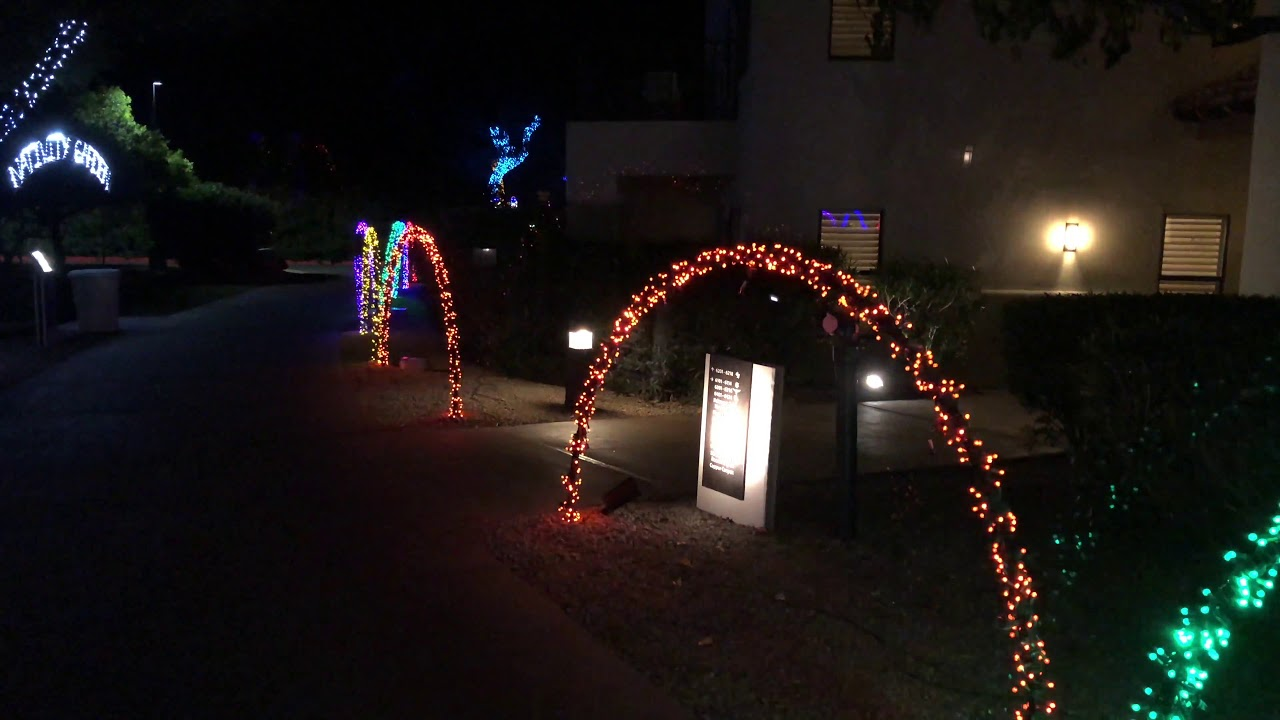 4k 60fps bridge circling christmas lights at fairmont scottsdale princess