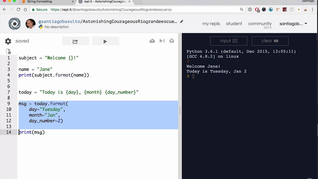 String Formatting Lesson - Base Python Track