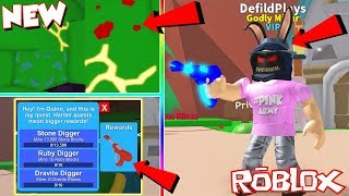 (Code) NEW SWAMP REALM, LEGENDARY QUESTS AND ULTIMATE RAYGUN TOOL In Roblox Mining Simulator!