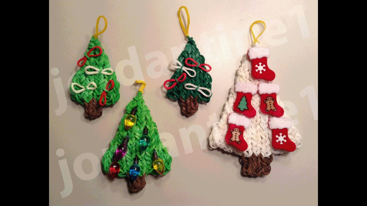 How To Make A Rainbow Loom Decorated Holiday Christmas Tree Charm ...