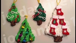 how to make a rainbow loom decorated holiday christmas tree charm part 1
