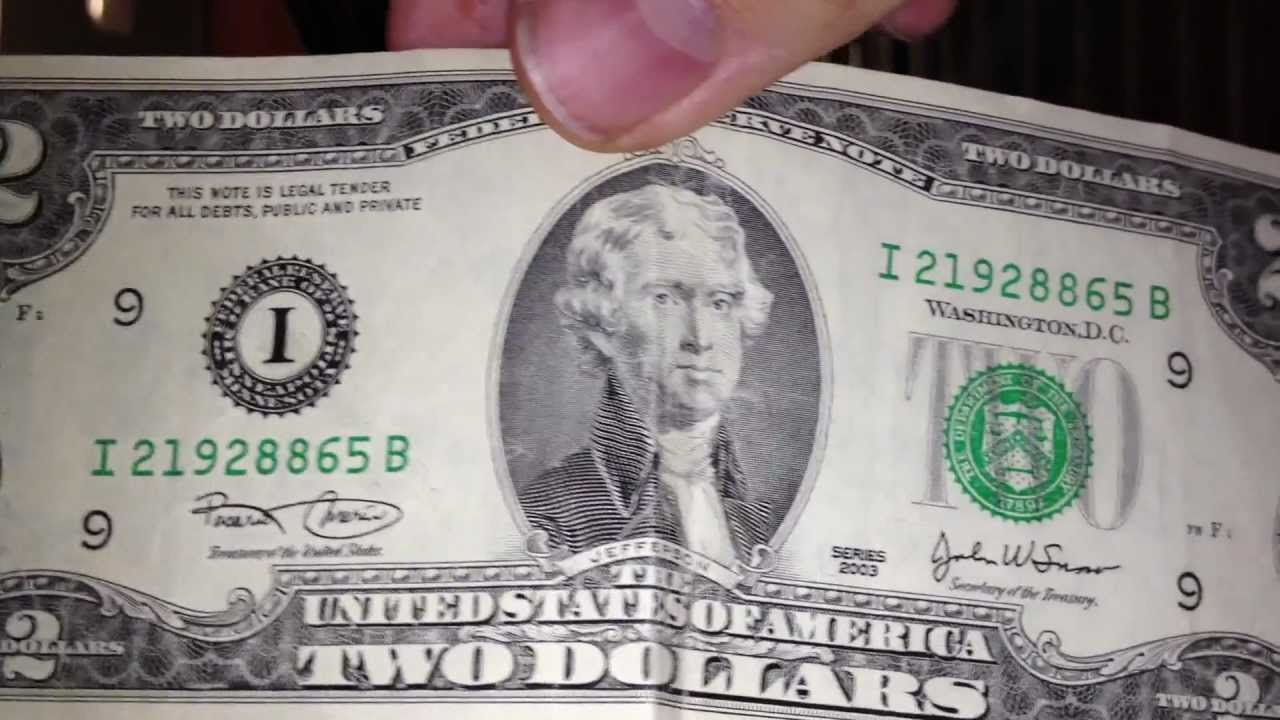Два доллара одной купюрой стоимость 2003 1 руб сколько