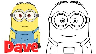 How to draw Minions Dave step by step easy drawing for kids and beginners