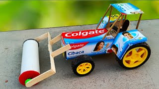 HOW TO MAKE A ROAD ROLLER TOY AT HOME || COLGATE TRACTOR WITH ROAD ROLLER || DIY