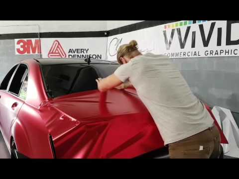 How to vinyl wrap a trunk in one piece using satin red chrome vinyl. By @ckwraps