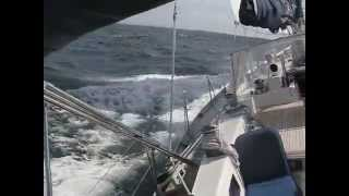 Cool sailing Swan 57 Deep Blue  9 knots in Norwegian waters heading for Caribbean