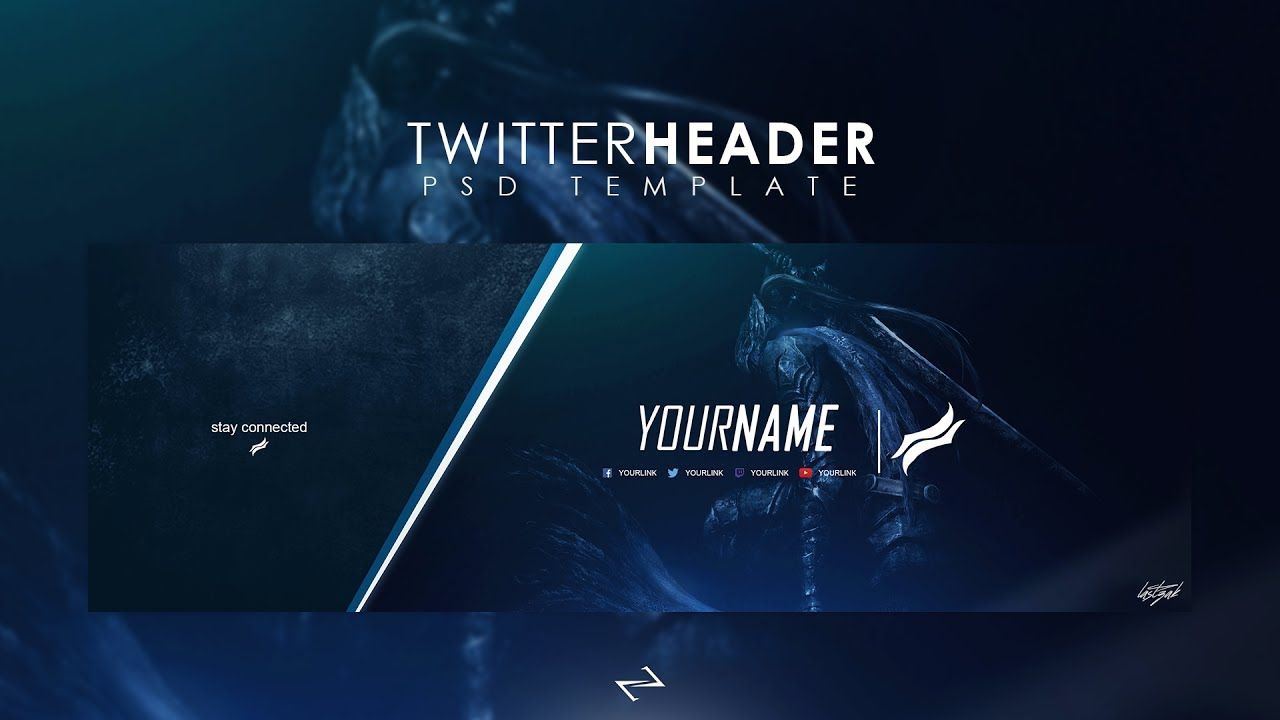 Free Professional Gaming Twitter Header Psd Template 2017