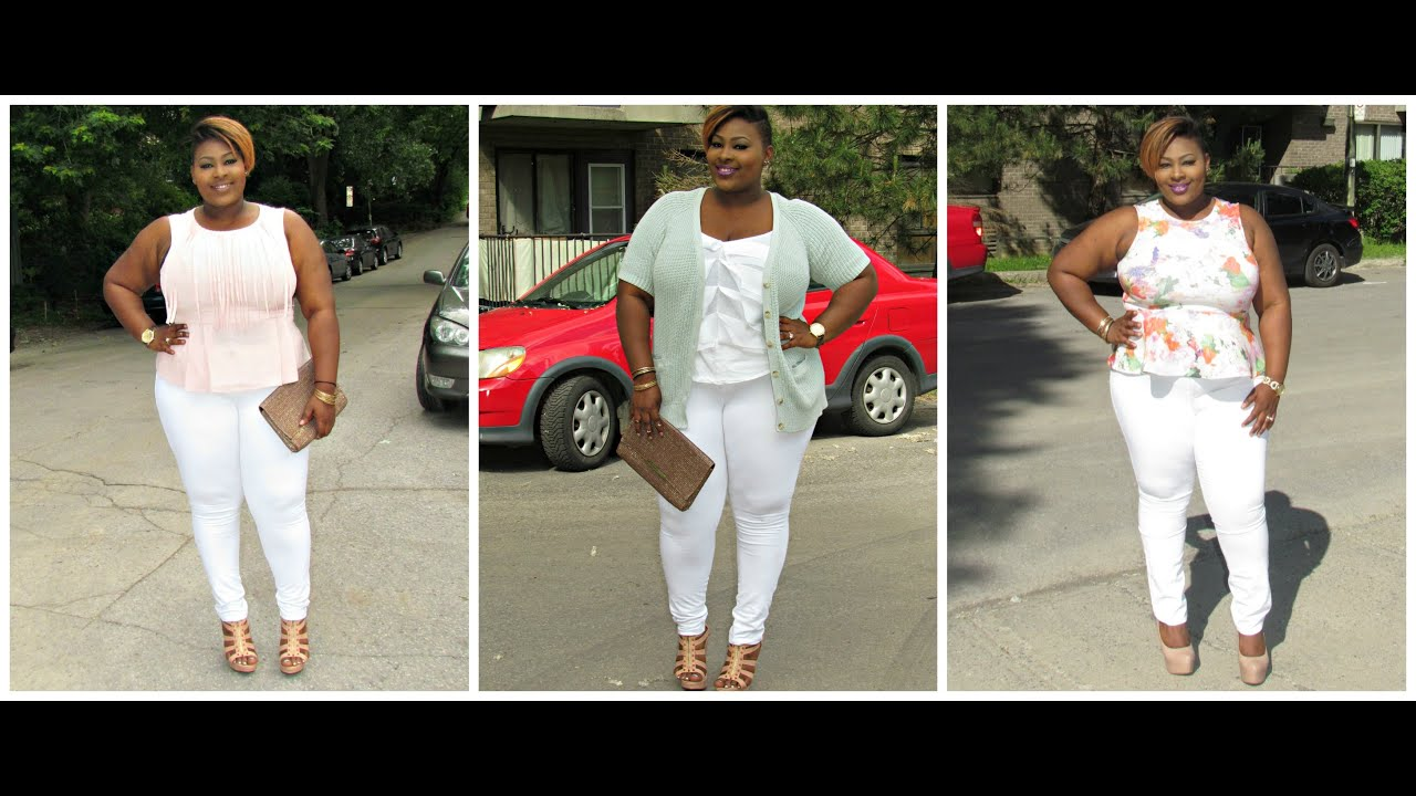 Plus Size Summer Lookbook #4 (white pant/jeans) - YouTube