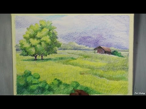 A Landscape with Colored Pencil | step by step