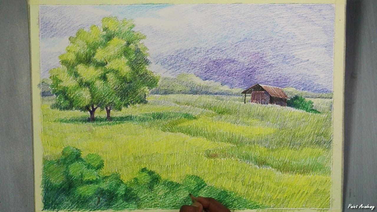 A landscape with colored pencil step by step