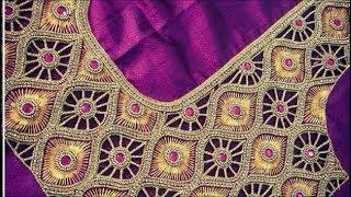 normal needle workidea for aari cut work designer blouse |rolled stitch|cross stitch