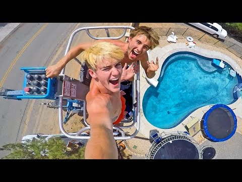JUMPING OFF A 40FT CRANE INTO OUR POOL! Ft  Tanner Braungardt!
