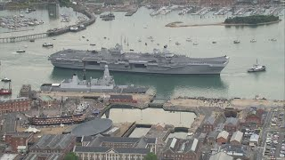 Britain's largest-ever warship arrives in Portsmouth